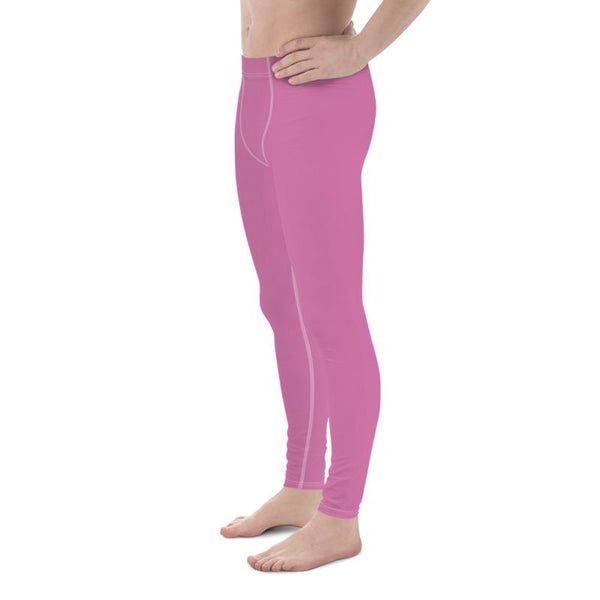 Candy Pink Solid Color Print Premium Men's Leggings Compression Tights- Made in USA/EU-Men's Leggings-Heidi Kimura Art LLC Candy Pink Meggings, Candy Pink Solid Color Print Premium Classic Elastic Comfy Men's Leggings Fitted Tights Pants - Made in USA (US Size: XS-3XL) Spandex Meggings Men's Workout Gym Tights Leggings, Compression Tights, Kinky Fetish Men Pants