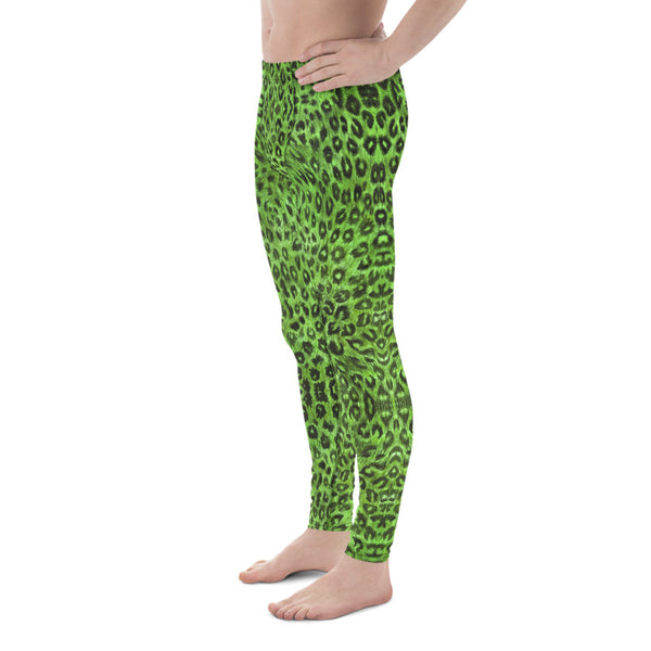 Light Green Leopard Men's Leggings, Animal Print Meggings Compression Tights-Heidikimurart Limited -Heidi Kimura Art LLCGreen Leopard Print Men's Leggings, Light Green Animal Print Leopard Modern Meggings, Men's Leggings Tights Pants - Made in USA/EU/MX (US Size: XS-3XL) Sexy Meggings Men's Workout Gym Tights Leggings