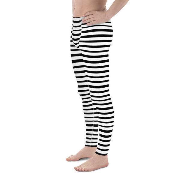 Black White Stripe Horizontal Print Premium Men's Leggings Stretchy Tights - Made in USA/EU-Men's Leggings-Heidi Kimura Art LLC Black Striped Meggings, Black White Stripe Horizontal Print Modern Fashionable Men's Running Workout Gym Circus Carnival Festival Leggings & Run Tights Meggings Activewear- Made in USA/ Europe (US Size: XS-3XL)