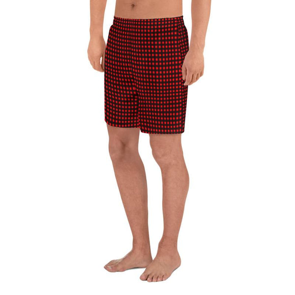 Buffalo Red Plaid Print Men's Athletic Best Workout Designer Long Shorts- Made in EU-Men's Long Shorts-Heidi Kimura Art LLC Buffalo Red Men's Shorts, Flannel Buffalo Red Plaid Print Men's Athletic Best Long Shorts- Made in EU (US Size: XS-3XL) Best Men's Workout Shorts