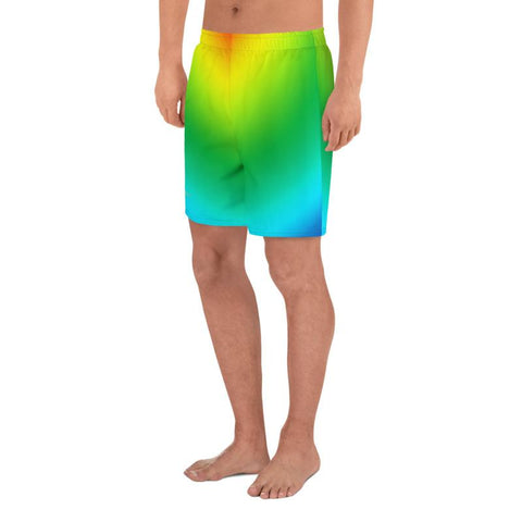 Radial Rainbow Ombre Print Men's Athletic Best Workout Sports Long Shorts- Made in EU-Men's Long Shorts-Heidi Kimura Art LLC