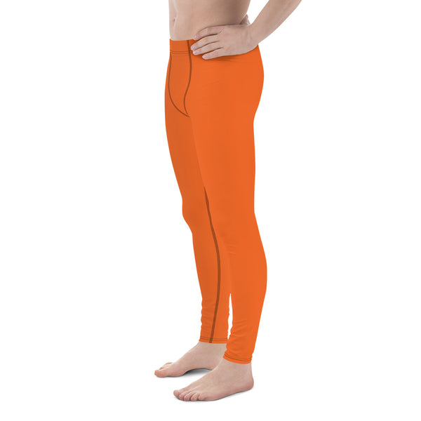 Dusty Desert Orange Solid Color Men's Leggings Meggings - Made in USA/EU (US Size: XS-3XL)-Men's Leggings-Heidi Kimura Art LLC