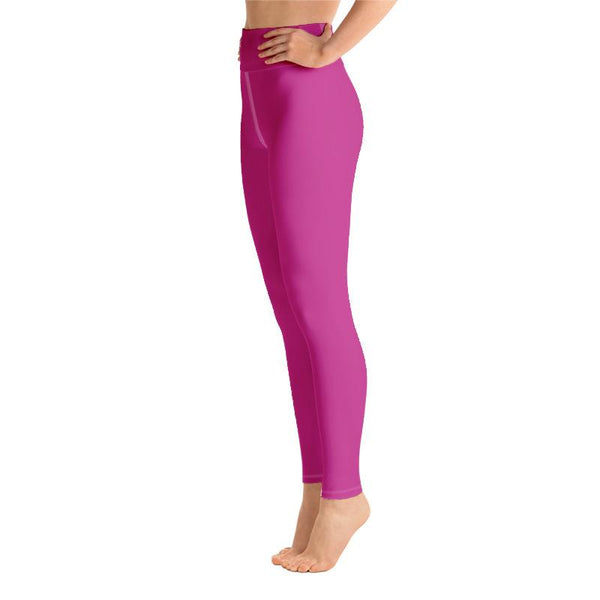 Sakura Pink Solid Color Print Premium Women's Yoga Leggings Pants- Made in USA/ EU-Leggings-Heidi Kimura Art LLC Pink Women's Yoga Pants, Women's Hot Pink Bright Solid Color Yoga Gym Workout Tights, Long Yoga Pants Leggings Pants, Plus Size, Soft Tights - Made in USA/EU, Women's Hot Pink Solid Color Active Wear Fitted Leggings Sports Long Yoga & Barre Pants (US Size: XS-XL)