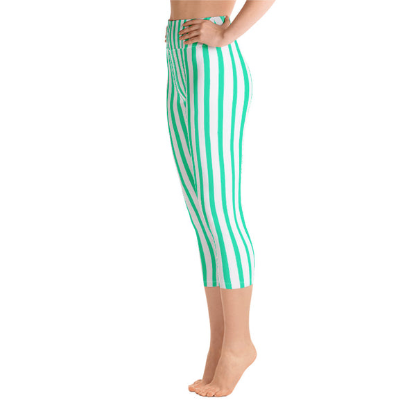 Turquoise Blue Vertical Stripe Print Women's Yoga Capri Leggings- Made in USA/ EU-Capri Yoga Pants-Heidi Kimura Art LLC