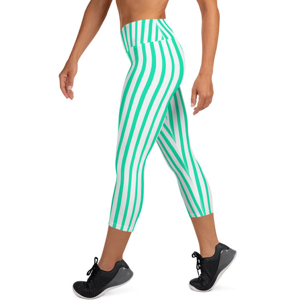 Turquoise Blue Vertical Stripe Print Women's Yoga Capri Leggings- Made in USA/ EU-Capri Yoga Pants-Heidi Kimura Art LLC Turquoise Blue Circus Capri Leggings, Turquoise Blue Vertical Striped Women's Yoga Capri Pants Leggings With Pockets Plus Size Available- Made In USA/EU (US Size: XS-XL) Modern Striped Circus Leggings Capris Fitness Workout Yoga Pants