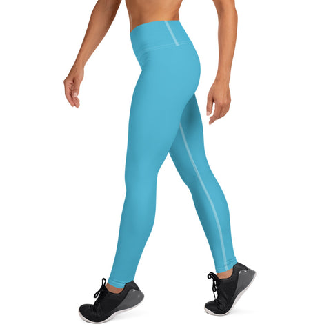 Light Blue Solid Color Women's Premium Long Yoga Leggings Pants- Made in USA/ EU-legging-Heidi Kimura Art LLC