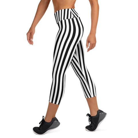 Black White Vertical Striped Print Women's Yoga Capri Pants Leggings- Made in USA/ EU-Capri Yoga Pants-Heidi Kimura Art LLC