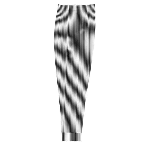 Half Black Half White Stripe Dense Print Designer Men's Joggers - Made in EU-Men's Joggers-Heidi Kimura Art LLC