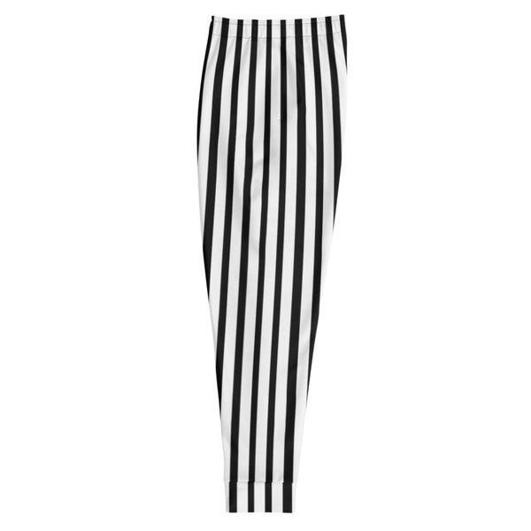 Black White Striped Men's Joggers, Modern Casual Stripe Print Sweatpants- Made in EU-Men's Joggers-Heidi Kimura Art LLC