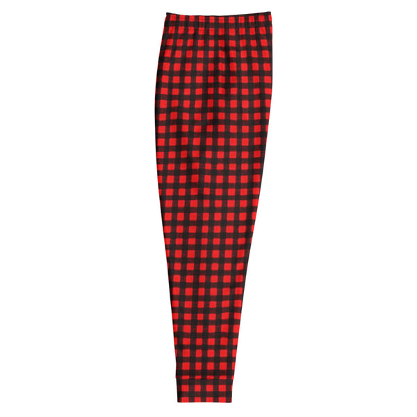 Buffalo Red Plaid Print Premium Best Men's Joggers Casual Sweatpants - Made in EU-Men's Joggers-Heidi Kimura Art LLC