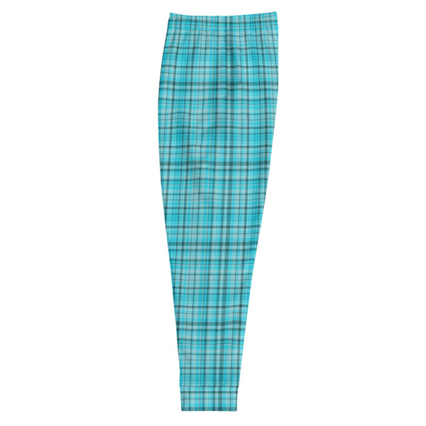 Light Blue Tartan Print Men's Joggers Premium Plaid Print Casual Sweatpants - Made in EU-Men's Joggers-Heidi Kimura Art LLC