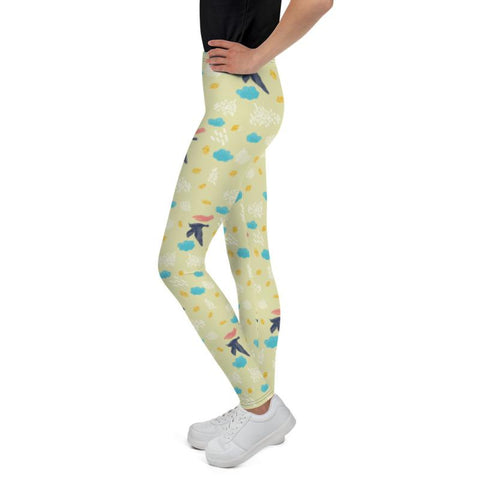 Light Blue Bird Yellow Cute Print Youth Leggings Workout Gym Pants - Made in USA/EU-Youth's Leggings-Heidi Kimura Art LLC