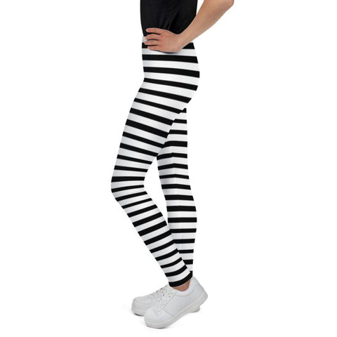 White And Black Horizontal Stripe Print Modern Best Youth Leggings- Made in USA/ EU-Youth's Leggings-Heidi Kimura Art LLC