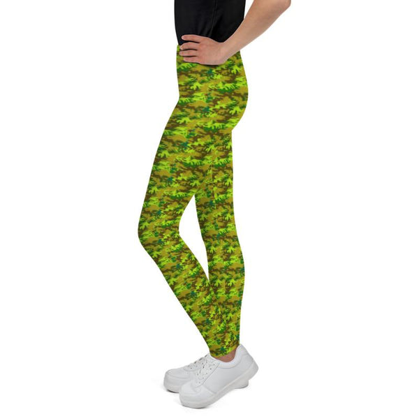 Bright Green Camouflage Military Army Print Designer Youth Leggings- Made in USA/EU-Youth's Leggings-Heidi Kimura Art LLC