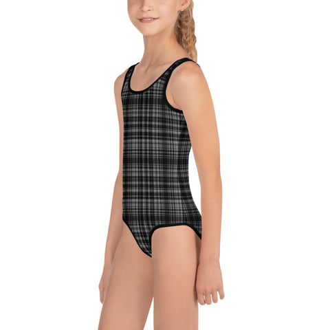 Black Gray Plaid Girl's Swimsuit, Tartan Print Kids Swimwear Bathing Suits-Made in USA/EU-Kid's Swimsuit (Girls)-Heidi Kimura Art LLC Black Gray Plaid Girl's Swimsuit, Classic Black And Gray Plaid Tartan Print Girl's Kids Luxury Premium Modern Fashion Swimsuit Swimwear Bathing Suit Children Sportswear Bathing Suits- Made in USA/EU (US Size: 2T-7)