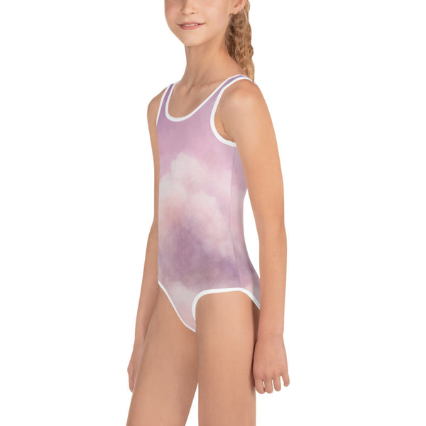 Purple Pink Abstract Clouds Print Girls Kids Swimsuit Cute Designer Swimwear-Made in USA/EU-Kid's Swimsuit (Girls)-Heidi Kimura Art LLC Purple Abstract Girl's Swimsuit, Purple Pink Abstract Clouds Luxury Premium Quality Designer Print Girl's Kids Luxury Premium Modern Fashion Swimsuit Swimwear Bathing Suit Children Sportswear Bathing Suits- Made in USA/EU (US Size: 2T-7)