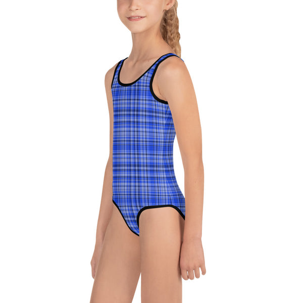 Blue Plaid Tartan Print Girls Kids Designer Swimsuit Swimwear Bathing Suits -Made in USA/EU-Kid's Swimsuit (Girls)-Heidi Kimura Art LLC