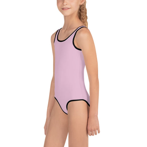 Baby Pink Girl's Swimwear, Modern Simple Solid Color Print Girl's Kids Luxury Premium Modern Fashion Swimsuit Swimwear Bathing Suit Children Sportswear- Made in USA/EU (US Size: 2T-7)