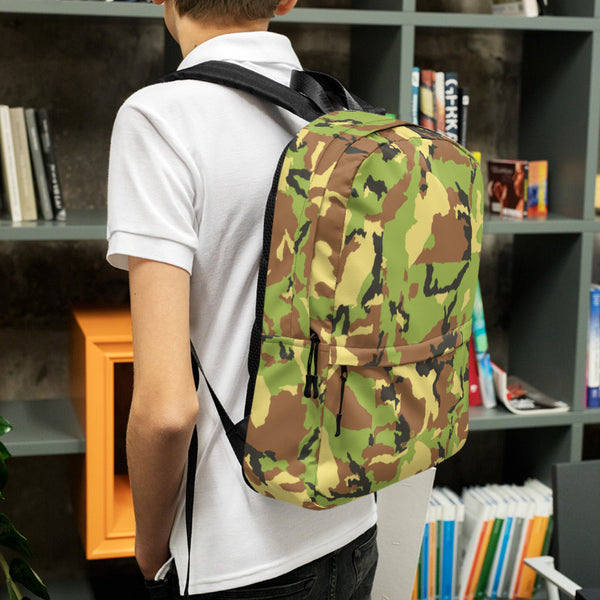 Green Camo Camouflage Military Army Print Premium Backpack- Made in USA/ EU-Backpack-Heidi Kimura Art LLC