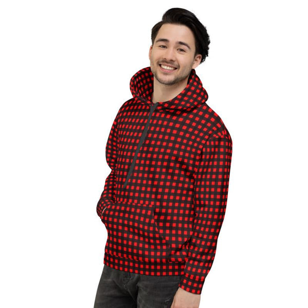 Buffalo Red Plaid Print Men's or Women's Unisex Soft Fleece Hoodie- Made in Europe-Men's Hoodie-Heidi Kimura Art LLC Buffalo Red Men's Hoodies, Buffalo Red Plaid Print Men's or Women's Unisex Hoodie- Made in Europe (US Size: XS-3XL), Women's or Men's Red Plaid Buffalo Print Hoodie Pullover Hooded Fleece Soft Sweatshirt, Plus Size Available