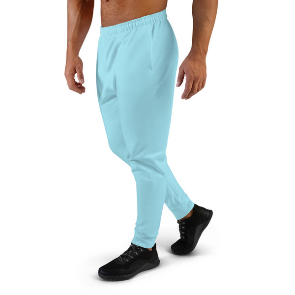 Baby Blue Designer Men's Joggers, Best Pale Blue Solid Color Sweatpants For Men, Modern Slim-Fit Designer Ultra Soft & Comfortable Men's Joggers, Men's Jogger Pants-Made in EU/MX (US Size: XS-3XL)