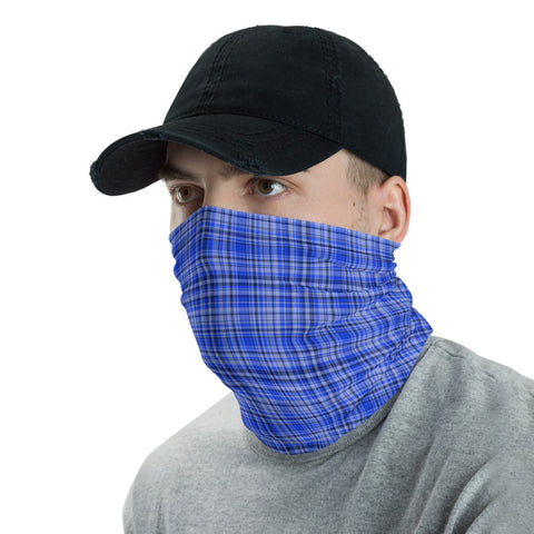Blue Plaid Face Mask Shield, Plaid Tartan Print Luxury Premium Quality Cool And Cute One-Size Reusable Washable Scarf Headband Bandana - Made in USA/EU, Face Neck Warmers, Non-Medical Breathable Face Covers, Neck Gaiters