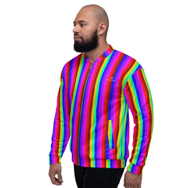 Rainbow Vertical Striped Bomber Jacket, Best Premium Quality Modern Unisex Jacket For Men/Women With Pockets-Made in EU