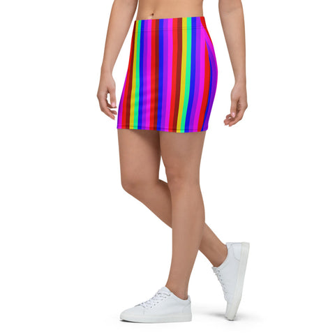 Rainbow Striped Women's Mini Skirt, Rainbow Striped Gay Pride Parade Print Alluring Women's Mini Skirt - Made in USA/ EU (US Size XS-XL)