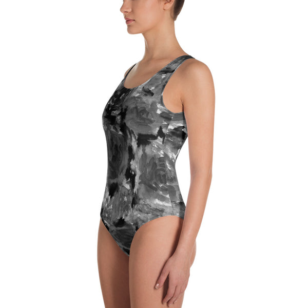 Grey Rose One-Piece Swimsuit, Abstract Rose Floral Print Women's Swimwear-Heidi Kimura Art LLC-Heidi Kimura Art LLC