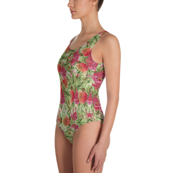 Red Roses One-Piece Swimsuit, Garden Rose Floral Print Women's Swimwear-Made in USA/EU-Heidi Kimura Art LLC-Heidi Kimura Art LLC