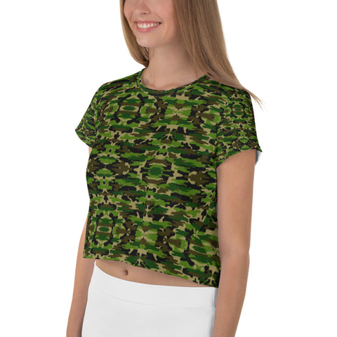 Green Camo Crop Tee, Army Military Camouflage Amy Cropped Short T-Shirt Outfit, Crop Tee Top Women's T-Shirt, Made in Europe, (US Size: XS-3XL) Plus Size Available