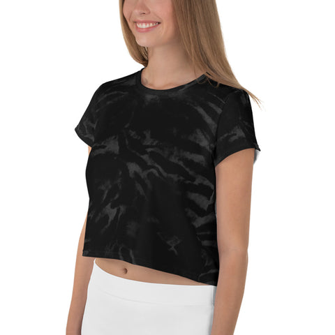 Black Tiger Crop Tee, Animal Print Cropped Short T-Shirt Outfit, Crop Tee Top Women's T-Shirt, Made in Europe, (US Size: XS-3XL) Plus Size Available