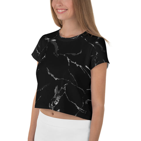 Black Marble Crop Tee, Marble Print Cropped Short T-Shirt Outfit, Crop Tee Top Women's T-Shirt, Made in Europe, (US Size: XS-3XL) Plus Size Available