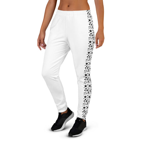 Black Stars Women's Joggers, Black White Premium Printed Slit Fit Soft Women's Joggers Sweatpants -Made in EU (US Size: XS-3XL) Plus Size Available, Black And White Women's Joggers, Soft Dressy Joggers Pants Womens