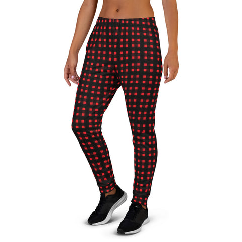 Buffalo Red Women's Joggers, Animal Print Premium Printed Slit Fit Soft Women's Joggers Sweatpants -Made in EU (US Size: XS-3XL) Plus Size Available, Buffalo Plaid Print Women's Joggers, Soft Joggers Pants Womens, Christmas Jogger Pants, Plaid Joggers, Buffalo Plaid Jogger, Jogger Sweatpants Pajamas