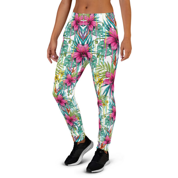 Pink Floral Women's Joggers, Tropical Print Colorful Comfy Slim Fit Soft Women's Joggers Sweatpants -Made in EU (US Size: XS-3XL) Plus Size Available, Women's Joggers, Soft Joggers Pants Womens, Women's Long Joggers, Women's Soft Joggers, Lightweight Jogger Pants Women's, Women's Athletic Joggers, Women's Jogger Pants