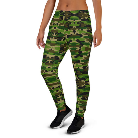 Green Camo Women's Joggers, Army Camouflage Military Print Premium Printed Slit Fit Soft Women's Joggers Sweatpants -Made in EU (US Size: XS-3XL) Plus Size Available, Camo Jogger Pants, Camouflage Jogger Pants For Women, Women's Joggers, Soft Joggers Pants Womens, Camo Jogger Sweatpants