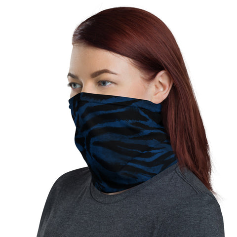Blue Tiger Striped Face Mask Shield, Navy Blue Animal Print Luxury Premium Quality Cool And Cute One-Size Reusable Washable Scarf Headband Bandana - Made in USA/EU, Face Neck Warmers, Non-Medical Breathable Face Covers, Neck Gaiters