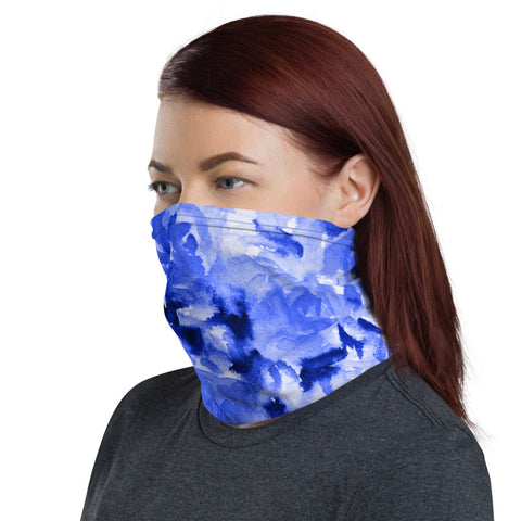 Blue Rose Face Mask Shield, Abstract Floral Print Luxury Premium Quality Cool And Cute One-Size Reusable Washable Scarf Headband Bandana - Made in USA/EU, Face Neck Warmers, Non-Medical Breathable Face Covers, Neck Gaiters