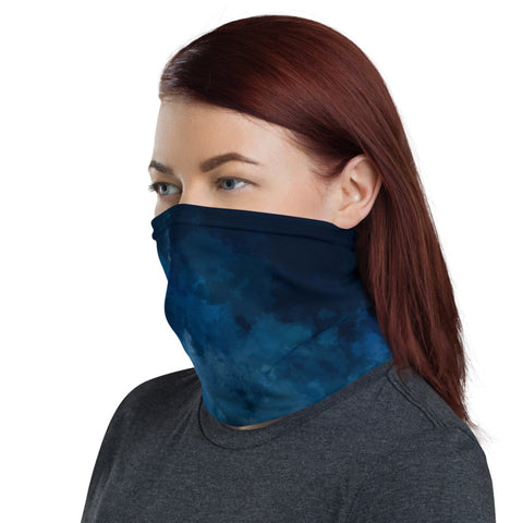 Dark Blue Face Mask Shield, Tie Dye Print Luxury Premium Quality Cool And Cute One-Size Reusable Washable Scarf Headband Bandana - Made in USA/EU, Face Neck Warmers, Non-Medical Breathable Face Covers, Neck Gaiters