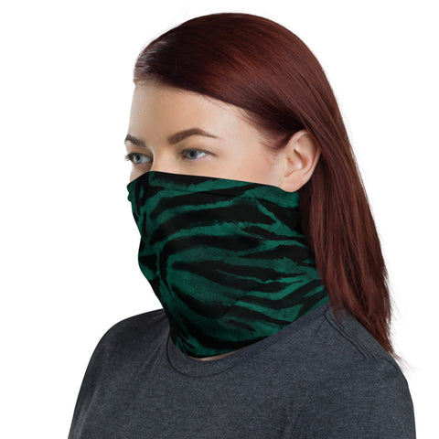 Green Tiger Striped Face Mask Shield, Animal Print Luxury Premium Quality Cool And Cute One-Size Reusable Washable Scarf Headband Bandana - Made in USA/EU, Face Neck Warmers, Non-Medical Breathable Face Covers, Neck Gaiters