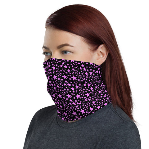 Pink Black Stars Face Mask Coverings, Star Pattern Print Luxury Premium Quality Cool And Cute One-Size Reusable Washable Scarf Headband Bandana - Made in USA/EU, Face Neck Warmers, Non-Medical Breathable Face Covers, Neck Gaiters, Non-Medical Face Coverings