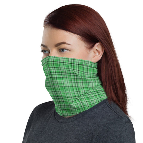 Green Plaid Face Mask Shield, Plaid Tartan Print Luxury Premium Quality Cool And Cute One-Size Reusable Washable Scarf Headband Bandana - Made in USA/EU, Face Neck Warmers, Non-Medical Breathable Face Covers, Neck Gaiters