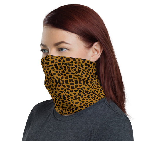 Brown Cheetah Face Mask Shield, Animal Print Luxury Premium Quality Cool And Cute One-Size Reusable Washable Scarf Headband Bandana - Made in USA/EU, Face Neck Warmers, Non-Medical Breathable Face Covers, Neck Gaiters