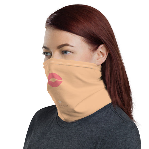 Peach Pink Lips Neck Gaiter, Funny Face Mask Neck Gaiter, Black Face Mask Shield, Luxury Premium Quality Cool And Cute One-Size Reusable Washable Scarf Headband Bandana - Made in USA/EU, Face Neck Warmers, Non-Medical Breathable Face Covers, Neck Gaiters