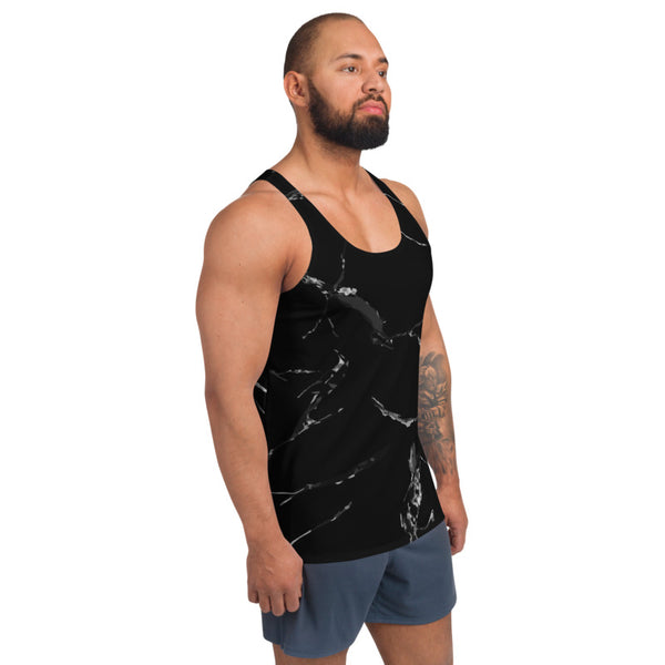 Black Marble Unisex Tank Top, Marbled Modern Best Premium Unisex Men's/ Women's Stylish Premium Quality Men's Unisex Tank Top - Made in USA/ Europe (US Size: XS-2XL)
