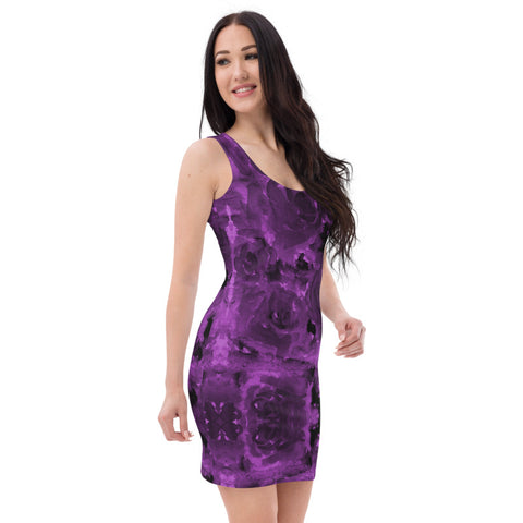 Purple Abstract Floral Dress, Rose Flower Designer Dress-Made in USA/EU-Heidi Kimura Art LLC-Heidi Kimura Art LLC Purple Abstract Floral Print Women's Dress, Rose Floral Print Women's Long Sleeveless Designer Premium Dress - Made in USA/EU (US Size: XS-XL)