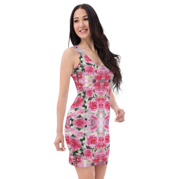 Pink Roses Floral Print Dress, Best Rose Flower Designer Dress-Made in USA/EU-Heidi Kimura Art LLC-Heidi Kimura Art LLC Pink Abstract Floral Women's Dress, Spring Pink Rose Floral Print Women's Long Sleeveless Designer Premium Dress - Made in USA/EU (US Size: XS-XL)