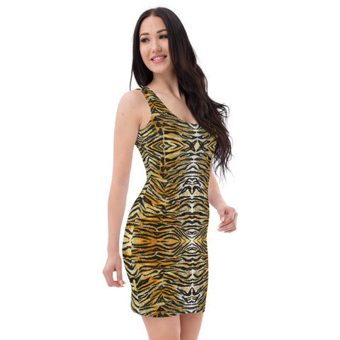 Orange Tiger Stripe Print Dress, Animal Print Women's Dress-Made in USA/EU-Heidi Kimura Art LLC-Heidi Kimura Art LLC Brown Black Tiger Stripe Dress, Best Orange Brown Animal Print Rave Party Casual or Semi-Formal Dress, Wild Sexy Women's Designer Sleeveless Best Dress, Designer Bestselling Premium Quality Women's Sleeveless Dress-Made in USA (US Size: XS-XL)