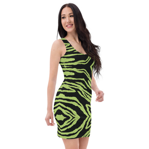 Green Tiger Stripe Women's Dress, Sexy 1-piece Sleeveless Party Dress-Heidi Kimura Art LLC-Heidi Kimura Art LLC Green Tiger Stripe Women's Dress, Sexy 1-piece Best Neon Green Bright Animal Print Dress, Wild Sexy Women's Designer Sleeveless Best Dress, Designer Bestselling Premium Quality Women's Sleeveless Dress-Made in USA (US Size: XS-XL)